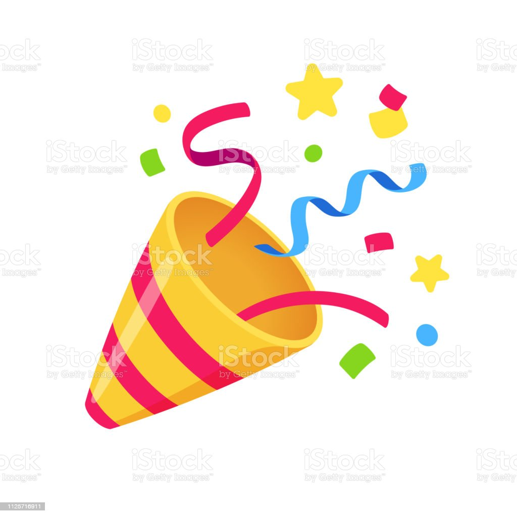 Party popper with confetti royalty-free party popper with confetti stock illustration - download image now