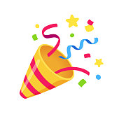 Exploding party popper with confetti, bright cartoon birthday cracker. Isolated vector illustration of celebration symbol emoji.