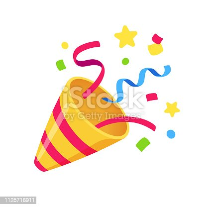 Exploding party popper with confetti, bright cartoon birthday cracker. Isolated vector illustration of celebration symbol emoji.