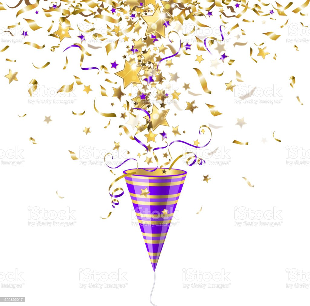 party popper with confetti vector art illustration