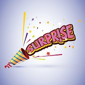 party popper with surprise typographic design - vector illustration