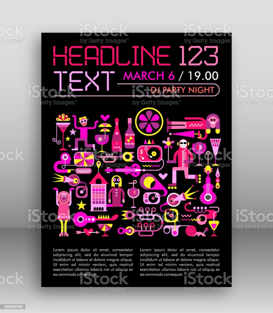 DJ Party Poster Template Design vector art illustration