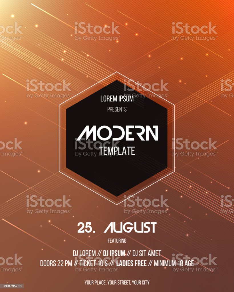 Party poster template. Vector vector art illustration
