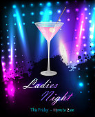 Ladies night or party poster template with glass of pink martini. eps10 - contains transparencies