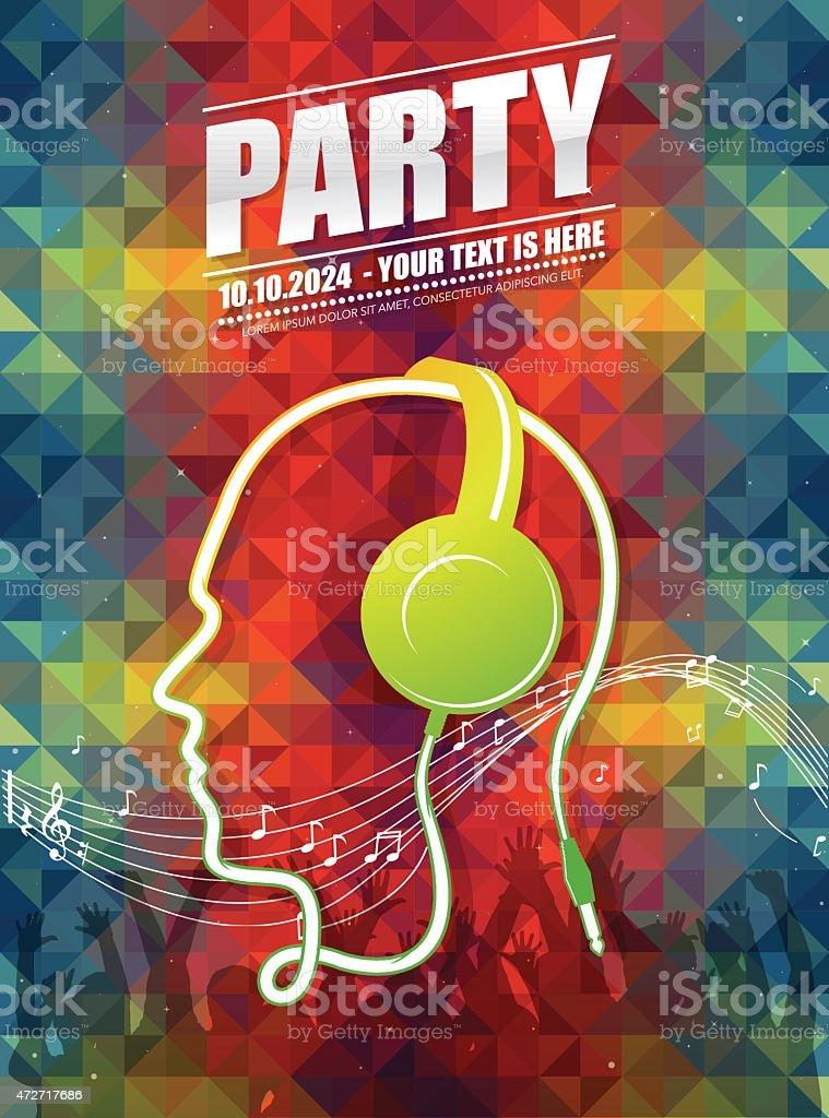 DJ party poster vector art illustration