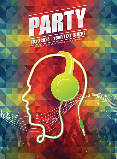 bildbanksillustrationer, clip art samt tecknat material och ikoner med dj party poster - hip hop poster