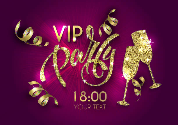 vip party poster with  lettering for your design of flyer, banner, postcard, cover, poster - salud stock illustrations