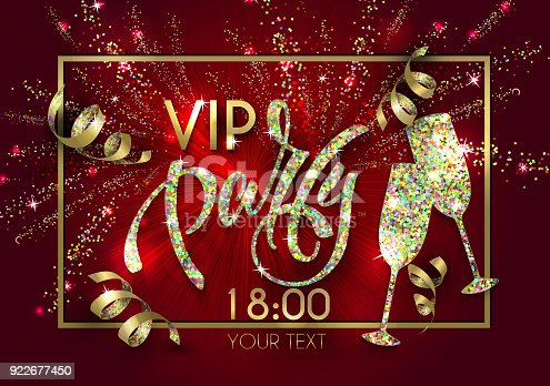 istock VIP party poster with  lettering for your design of flyer, banner, postcard, cover, poster 922677450
