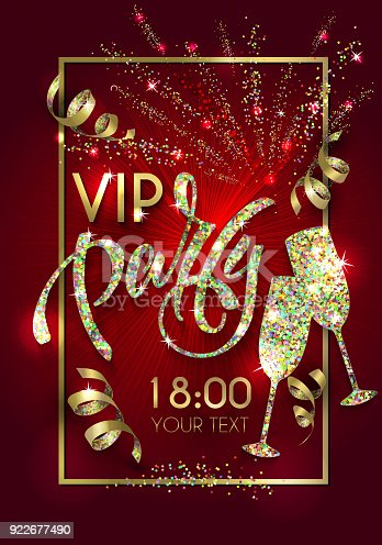 istock VIP party poster with  lettering for your design of flyer, banner, postcard, cover, poster 922677490