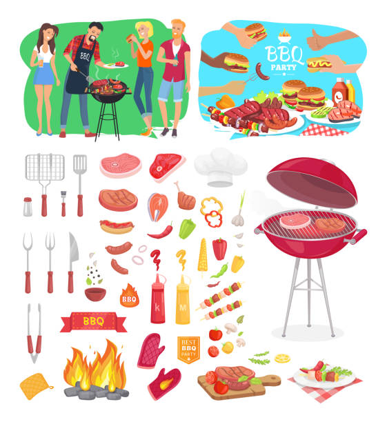 illustrazioni stock, clip art, cartoni animati e icone di tendenza di bbq party posters and icons vector illustration - galateo a tavola