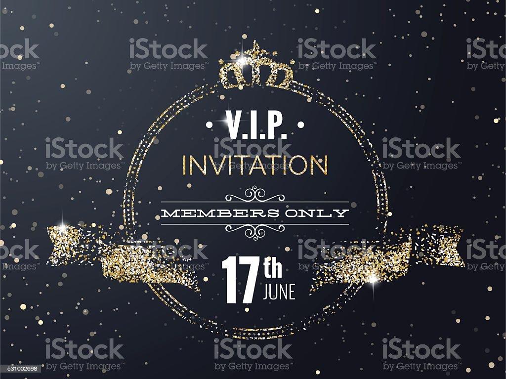 VIP fiesta cartel invitación tarjeta exclusiva con cinta de curva - ilustración de arte vectorial