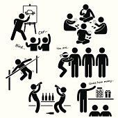 A set of human pictogram representing recreational games played at party.