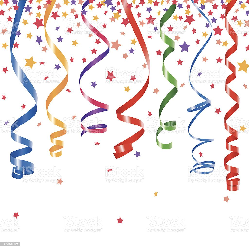 Party ribbons and confetti vector art illustration
