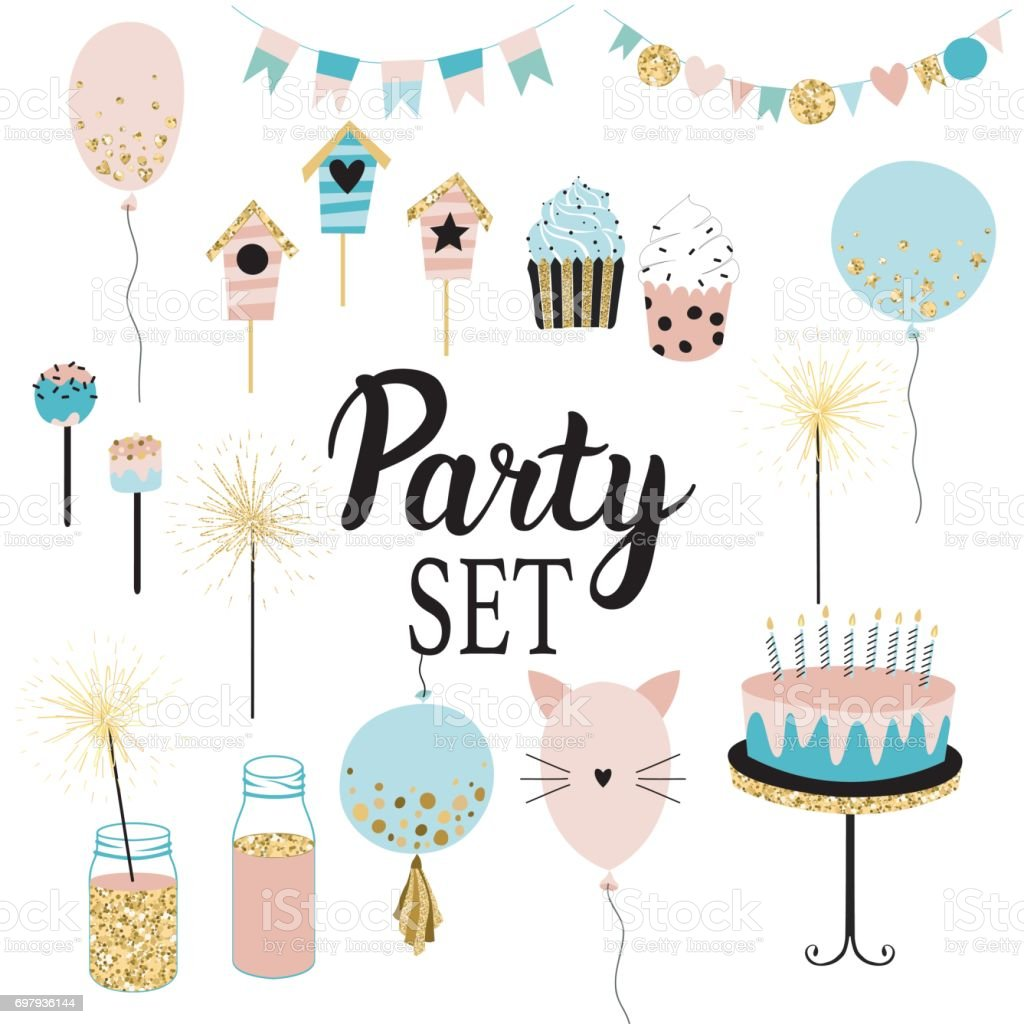 Party set of decorations, toppers, baloons, cakes, garlands with flags. vector art illustration