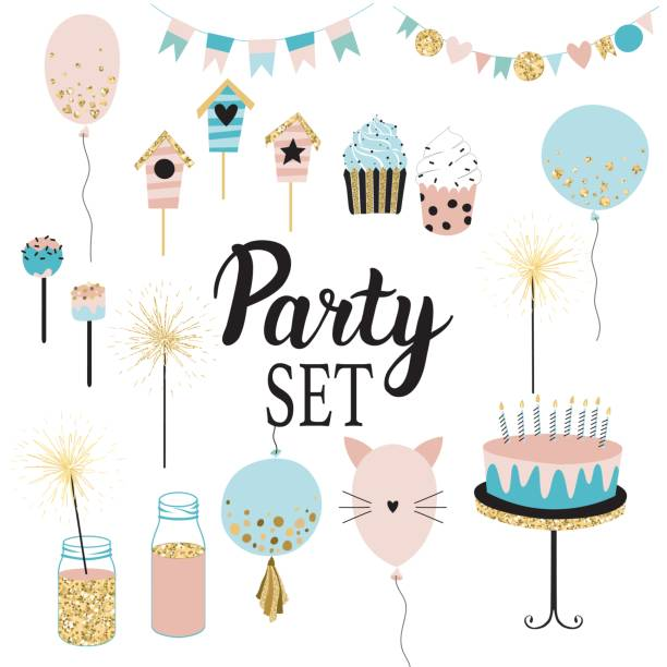 Party set of decorations, toppers, baloons, cakes, garlands with flags. Party set of decorations, toppers, baloons, cakes, garlands with flags. Vector hand drawn illustration, scandinavian style in mint, ping colors with gold glittering elements. sparkler stock illustrations