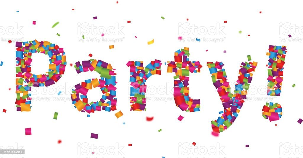 Party sign with colorful confetti vector art illustration