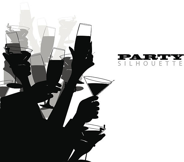 Party Silhouette Many hands toast at a party, in tones and shades of black and white. alcohol drink silhouettes stock illustrations