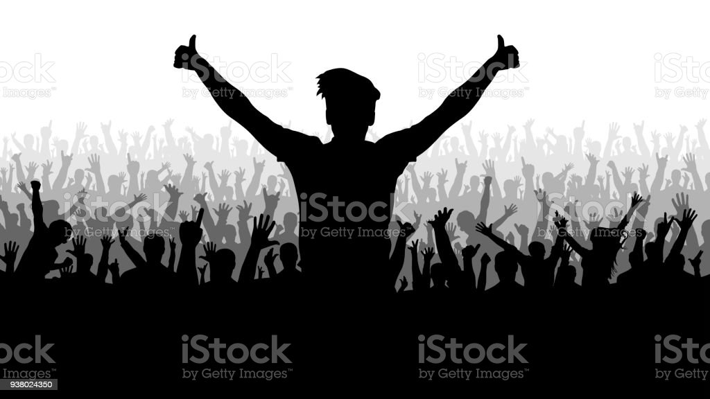 Party silhouettes of people crowd vector art illustration