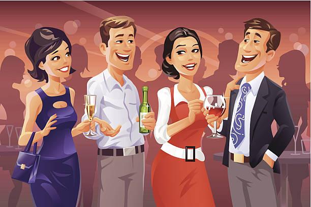 ilustraciones, imágenes clip art, dibujos animados e iconos de stock de fiesta de hablar - reunión evento social