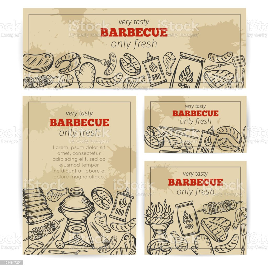 BBQ party template with meat, chicken, fish vector art illustration