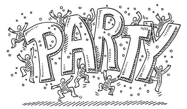 Party Text Jumping Human Figures Drawing Hand-drawn vector drawing of a Party Text and Jumping Human Figures. Black-and-White sketch on a transparent background (.eps-file). Included files are EPS (v10) and Hi-Res JPG. cartoon character figure stock illustrations