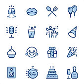 Party Theme  icons set #18 Specification: 16 icons, 36x36 pх, stroke weight 2 px Features: Pixel Perfect, Dichromatic, Single line   First row of icons contains: Cheers! (Chapmpagne glasses), Lips icon, Food icon, Balloons;  Second row contains: Microphone (Karaoke), Drinks, Party hard, Party Hat;  Third row contains: Birthday Cupcake, LOL icon, Gift box, Party Popper icon;  Fourth row contains: Audio Speaker, Disco ball, Cake icon, Wine Bottle and Glass.  Complete BLUE MICO collection - https://www.istockphoto.com/collaboration/boards/Y8ZYtc2sY0qNQVGRttlncQ