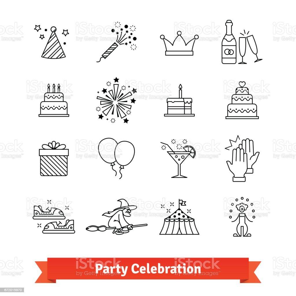 Party thin line art icons set. Entertainment vector art illustration