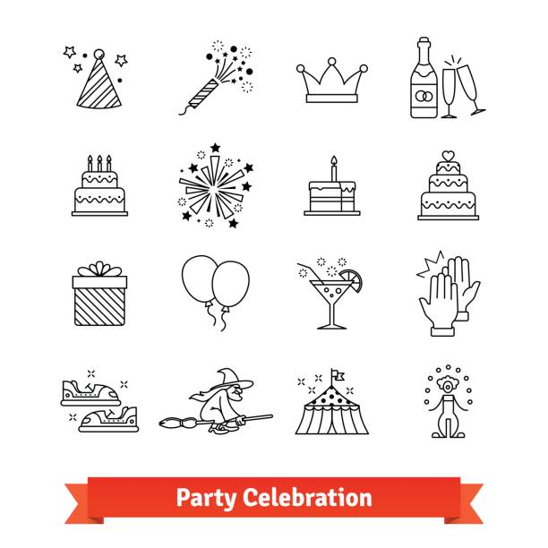 party thin line art icons set. entertainment - happy birthday cake stock illustrations, clip art, cartoons, & icons