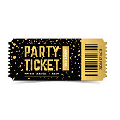 Golden vector party ticket. Realistic 3d design with gold confetti. Admit one.