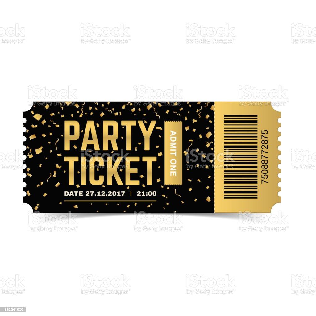 Party ticket. Vector realistic illustration. vector art illustration