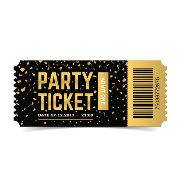 Party ticket. Vector realistic illustration. Golden vector party ticket. Realistic 3d design with gold confetti. Admit one. admit one stock illustrations