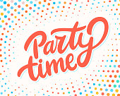 Party time banner. Vector lettering. Vector hand drawn illustration.