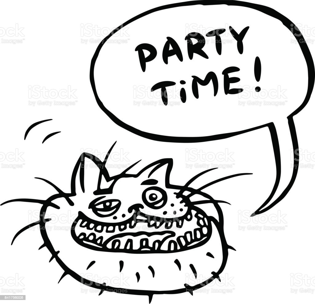 Party Time Cartoonkatzekopf Vektorillustration Stock Vektor Art und ...