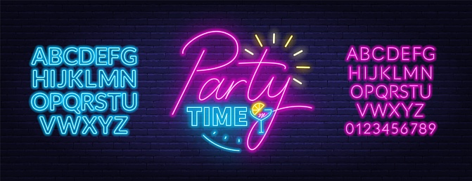Party time neon lettering in retro style.