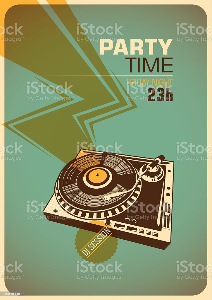 Party time poster with turntable. vector art illustration