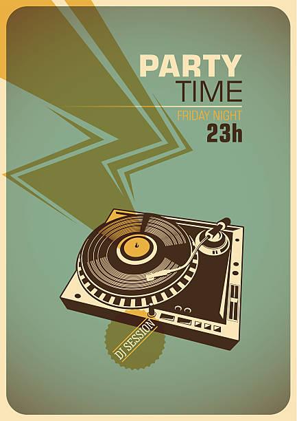 ilustrações, clipart, desenhos animados e ícones de tempo cartaz de festa com toca-discos. - toca discos