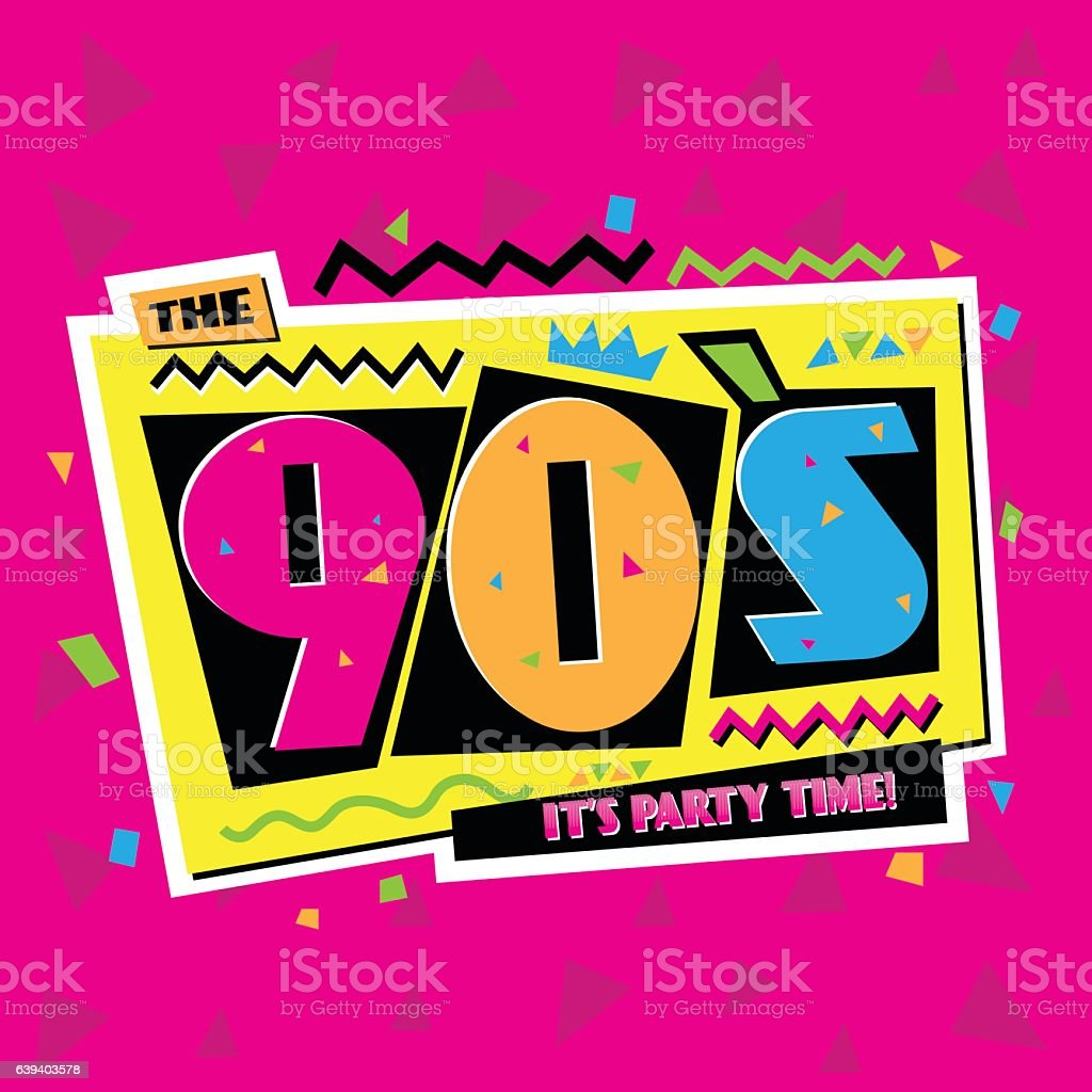 Party time The 90's style label. Vector illustration. vector art illustration