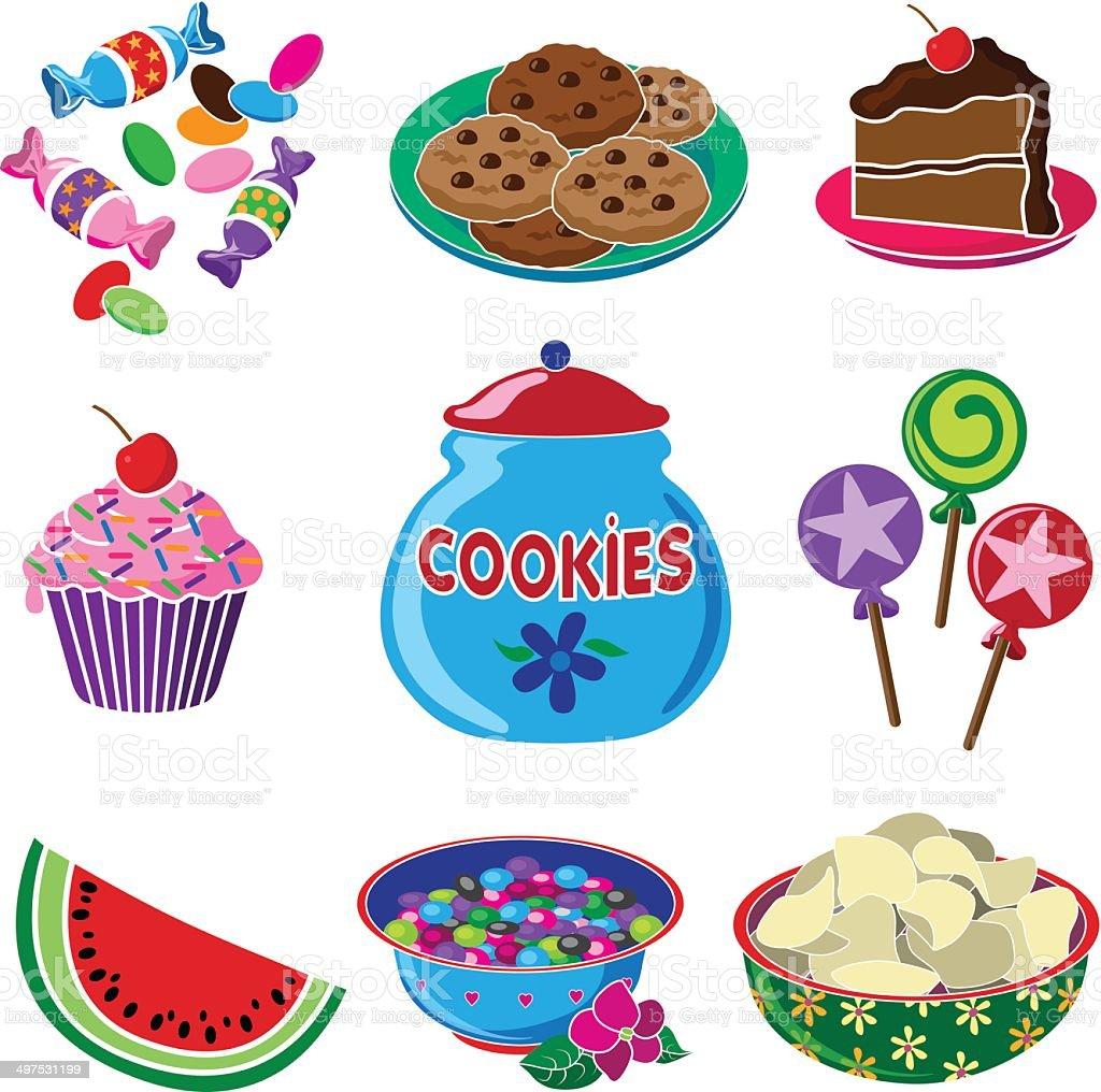 party treats and snacks vector art illustration
