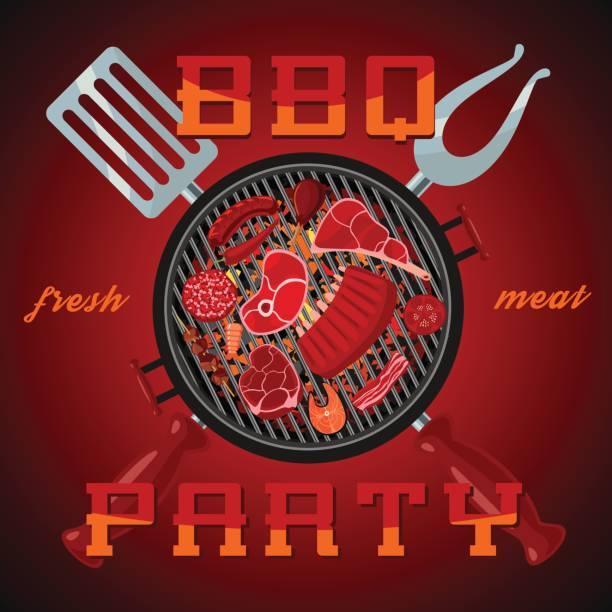 barbecue-party. vektor-banner mit grill - schweinebraten stock-grafiken, -clipart, -cartoons und -symbole
