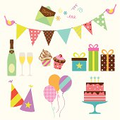Vector illustration of party collection.