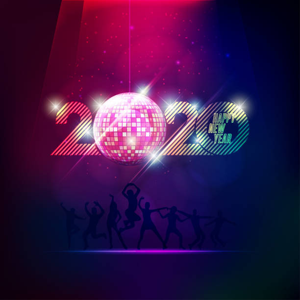 2020 party 2020 happy new year in vivid style party theme for decoration disco ball stock illustrations