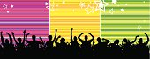 Party people outline with colorful striped background.