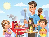 Vector illustration of a family and friends having a barbecue party on a sunny day.