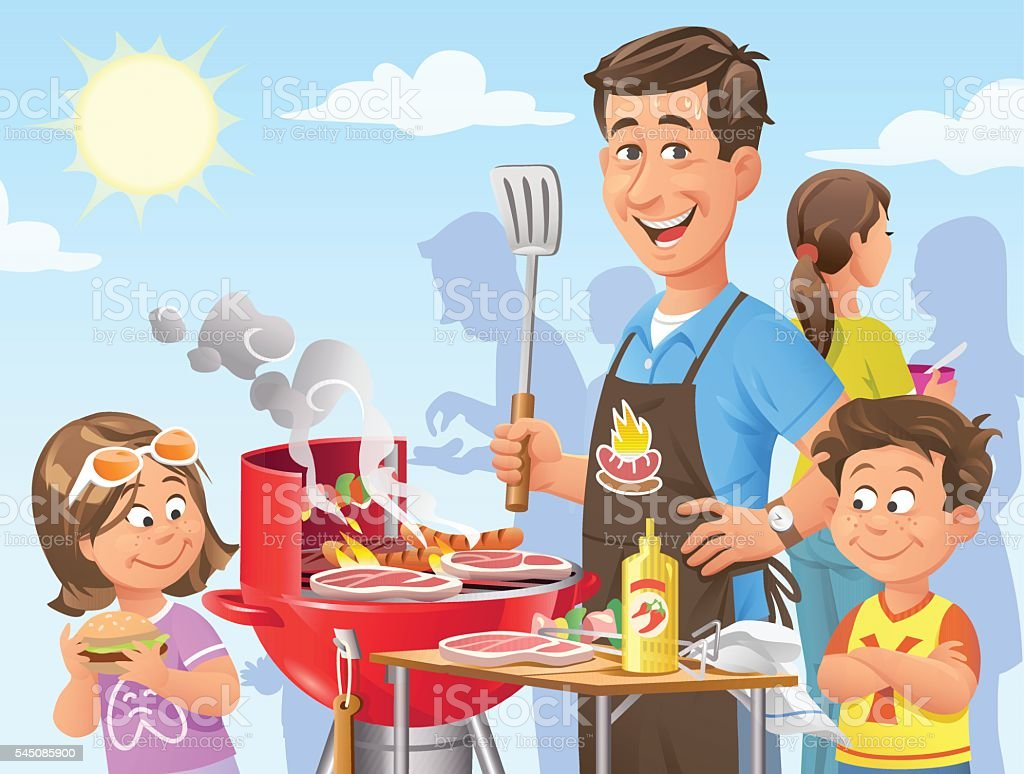 BBQ Party vector art illustration