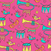 Seamless pattern with masquerade symbols. Mardi gras party vector illustration. Carnival card with doodle birds, trumpets, drums, masks and stars.