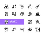 Party vector line icons. Simple set of outline symbols, linear graphic design elements. Party icons set. Pixel Perfect