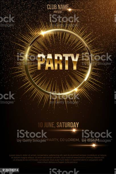 Party vector poster template with shining golden rays and glitter on vector id918418014?b=1&k=6&m=918418014&s=612x612&h=3vze6sl2vjfixae4pmeunsbc6mleegbpucihovwfoz4=