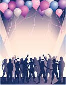Silhouettes of people dancing and having fun with colorful balloons overhead. Backround, balloons and people all on separate layers. Contains simple linear and radial blends.