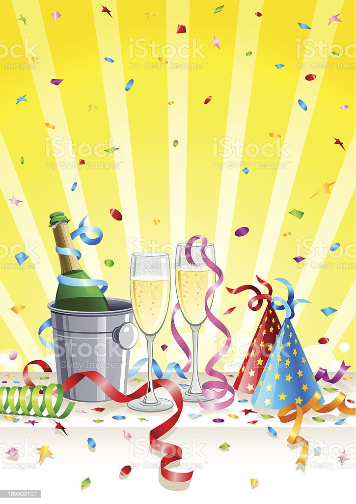 Party with champagne royalty-free stock vector art