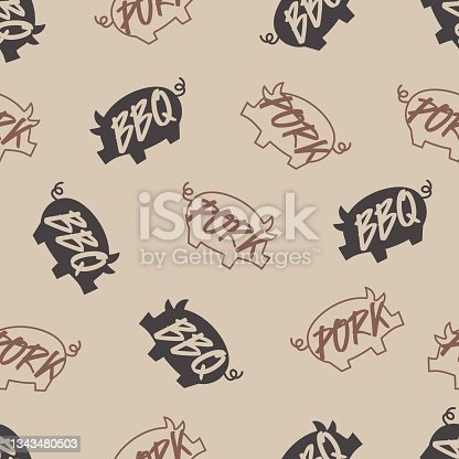 istock Party with Delicious Pork Barbeque Vector Graphic Art Seamless Pattern 1343480503